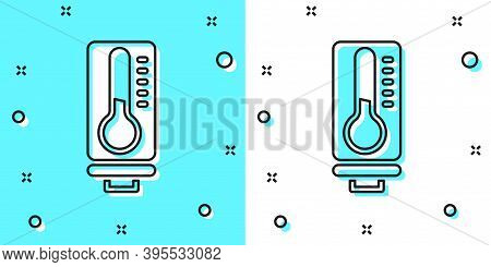 Black Line Meteorology Thermometer Measuring Heat And Cold Icon Isolated On Green And White Backgrou