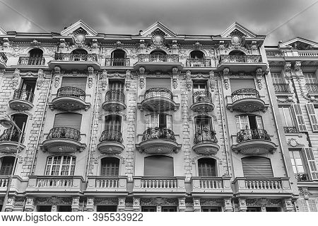 Beautiful Architecture Of The Buildings In Avenue Georges Clemenceau, Central Nice, Cote D'azur, Fra