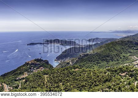 Scenic View Over The Coastline Of The French Riviera Near The Town Of Eze, Iconic Village Near The C