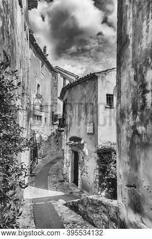 The Medieval Architecture Of Eze, Iconic Village Near The City Of Nice,  Cote D'azur, France. It Is