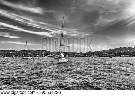 View Of The Old Harbor With Luxury Yachts Of Saint-tropez, Cote D'azur, France. The Town Is A Worldw