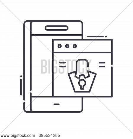 Cybercrime Icon, Linear Isolated Illustration, Thin Line Vector, Web Design Sign, Outline Concept Sy