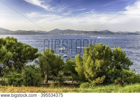 Scenic View Of Saint-tropez From Castle Hill, Cote D'azur, France. The Town Is A Worldwide Famous Re