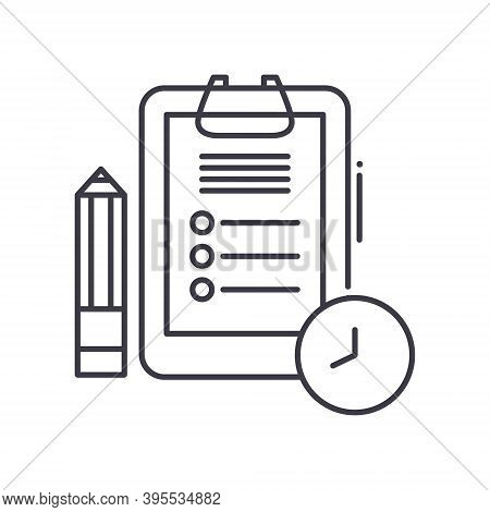 Daily Shedule Icon, Linear Isolated Illustration, Thin Line Vector, Web Design Sign, Outline Concept