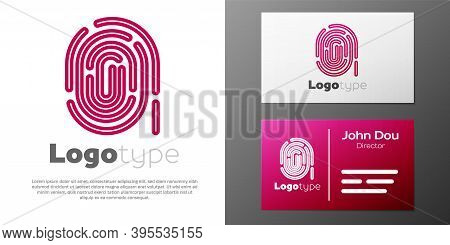 Logotype Line Fingerprint Icon Isolated On White Background. Id App Icon. Identification Sign. Touch