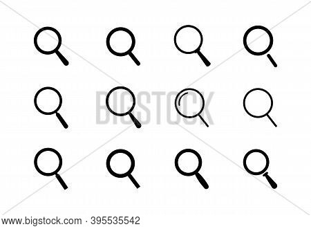 Magnifying Glass Icons Set. Vector Loupes For Use In Ui And Web Design.