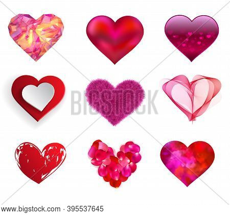 Nine Heart Symbols Isolated On A White Background. Red And Pink Icons For Love, Wedding, Valentines