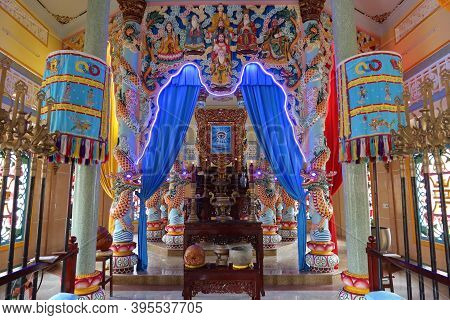 Hoi An, Vietnam, November 19, 2020: Altar In The Main Hall Of Worship Of The Cao Dai Temple In Hoi A