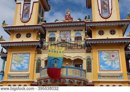Hoi An, Vietnam, November 19, 2020: Detail Of The Main Facade Of The Cao Dai Temple In Hoi An