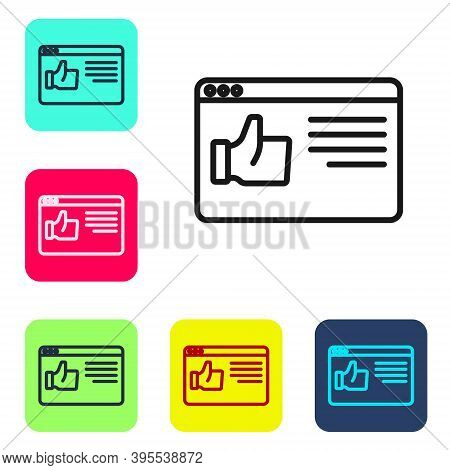 Black Line Browser Window Icon Isolated On White Background. Set Icons In Color Square Buttons. Vect
