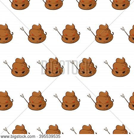Vector Seamless Pattern With Devil Poop Emoji. Funny Background With Angry Poo With An Evil Face.