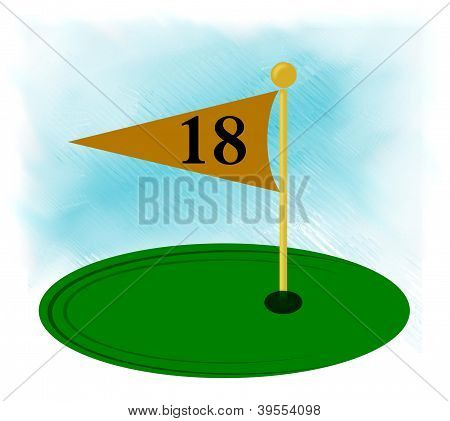 18th hole flagstick