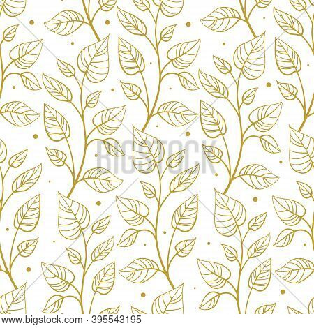 Vector Seamless Pattern With Vertical Abstract Foliate Branches; Gold Twigs On White Background; For