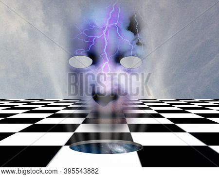 Surrealism. Chessboard with hole to another dimension. Mask with clouds. 3D rendering