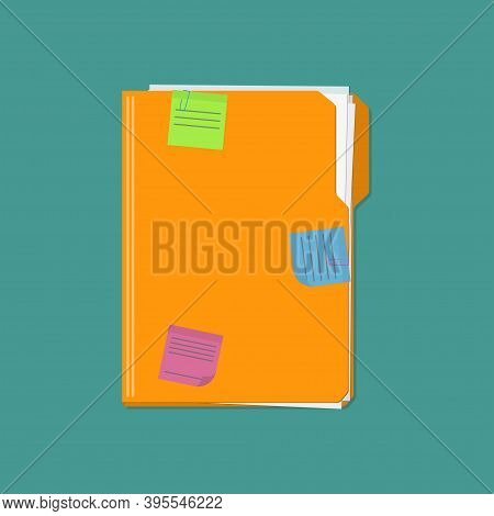 Documents Folder With Paper Sheets And Sticky Notes Reminder. Template Design For Business Or Educat
