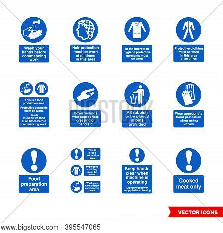 Health Hygiene Mandatory Signs Icon Set Of Color Types. Isolated Vector Sign Symbols. Icon Pack.