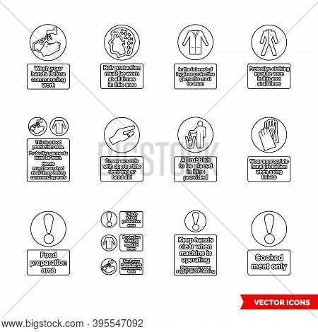 Health Hygiene Mandatory Signs Icon Set Of Outline Types. Isolated Vector Sign Symbols. Icon Pack.