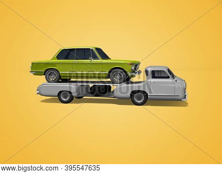 3d Rendering Concept Tow Truck Transports Car Isolated On Orange Background With Shadow