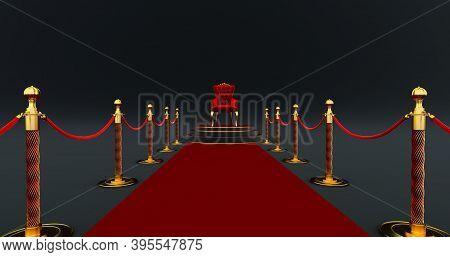 3d Render Of Red Royal Chair. Red Carpet Between Two Rope Barriers Leading To The Luxurious Throne,