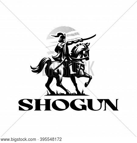Shogun, A Japanese Samurai In Armor, Helmet And Sword In Hand, Rides A Horse. Stylized Vector Illust