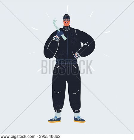 Vector Illustration Of Burglar With A Crowbar In His Hand On Dark Backround. Comic Character.