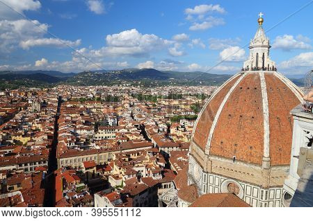 Florence City Aerial View With Santa Maria Del Fiore Cathedral. Old Town Architecture In Florence (t