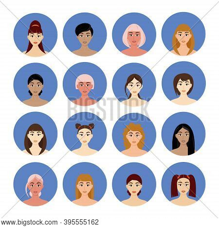 Set Of Avatar Women's Hairstyles. Beautiful Young Girls With Different Hairstyles Isolated On A Whit