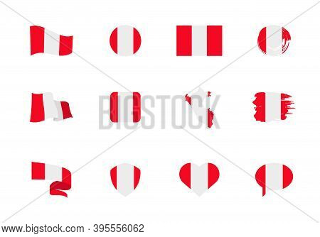 Flags Of Peru - Flat Collection. Flags Of Different Shaped Twelve Flat Icons.