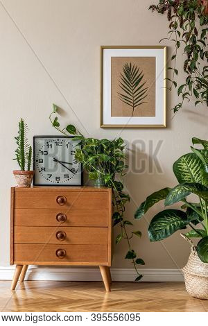 Retro Interior Design Of Living Room With Design Vintage Chair And Commode, Plants, Cacti, Clock, Pe