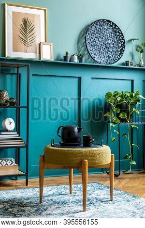 Interior Design Of Living Room With Design Pouf, Shlef, Basket, Carpet And Elegant Personal Accessor