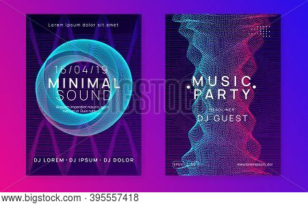Techno Event. Dynamic Fluid Shape And Line. Trendy Concert Invitation Set. Neon Techno Event Flyer.