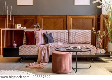 Stylish Interior Of Living Room With Design Pink Velvet Sofa, Velur Pillows, Plaid, Decorations And