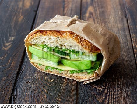 Sandwich With Green Salad, Avocado, Cucumber And Cheese. Healthy Eating. Vegetarian Food. Breakfast.