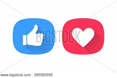 Thumb Up And Heart Icon. Vector Like And Love Icon. Ready Like And Favorites Button Design For Use I