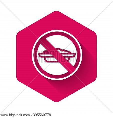 White Food No Diet Icon Isolated With Long Shadow. Healing Hunger. Pink Hexagon Button. Vector