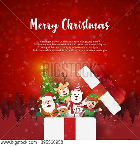 Merry Christmas And Happy New Year, Christmas Postcard Of Photo Frame On Christmas Tree With Santa C