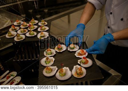Food Buffet In Luxury Restaurant. Buffet Catering Food Arrangement On Table. The Catering Wedding Bu