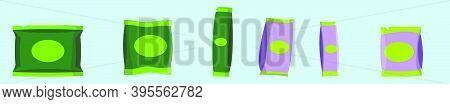 Set Of Matte Paper Sachet. Cartoon Icon Design Template With Various Models. Modern Vector Illustrat