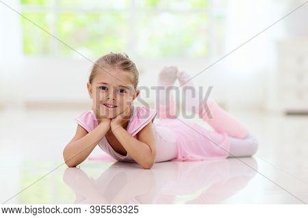 Baby Ballet. Little Ballerina Girl In Dance Class.