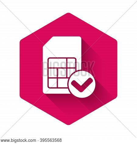 White Sim Card Icon Isolated With Long Shadow. Mobile Cellular Phone Sim Card Chip. Mobile Telecommu