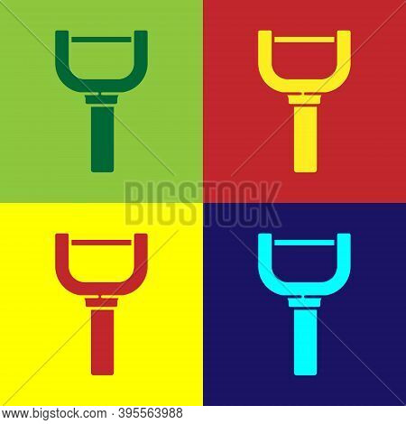 Pop Art Peeler Icon Isolated On Color Background. Knife For Cleaning Of Vegetables. Kitchen Item, Ap