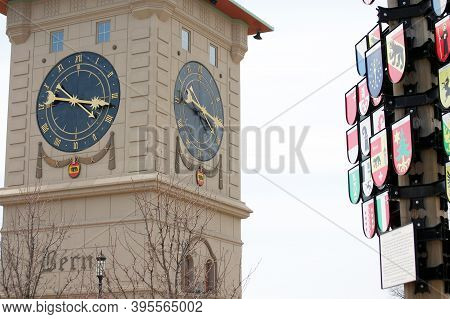 Clock Tower Next To The Canton Tree In Berne, Indiana Is A Tribute To The Swiss Heritage In The Comm