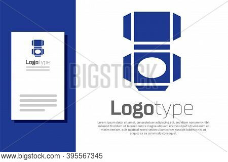Blue Carton Cardboard Box Icon Isolated On White Background. Box, Package, Parcel Sign. Delivery And