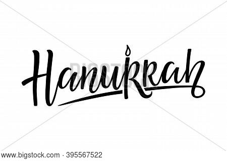 Hanukkah Logotype, Badge And Icon Typography. Calligraphy Lettering Of Jewish Holiday Logo Template.