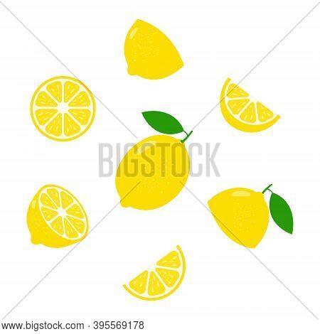 Lemon Fresh Slices Icon Set. Healthy Food Group Concept. Citrus Vitamin C Vector Illustration Isolat