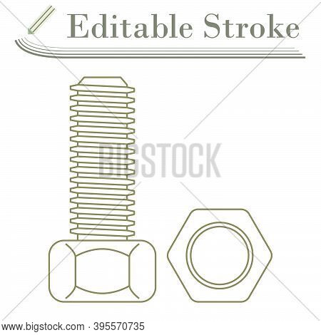 Icon Of Bolt And Nut. Editable Stroke Simple Design. Vector Illustration.