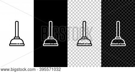 Set Line Rubber Plunger With Wooden Handle For Pipe Cleaning Icon Isolated On Black And White Backgr