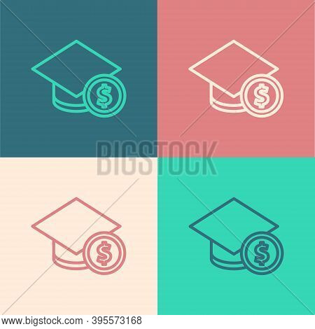Pop Art Line Graduation Cap And Coin Icon Isolated On Color Background. Education And Money. Concept