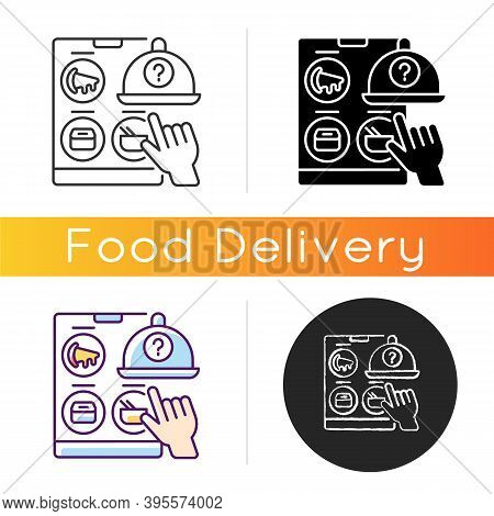 Choosing Restaurant Icon. Online Food Delivery. Ready-made Meals. Takeout From National Chains And L