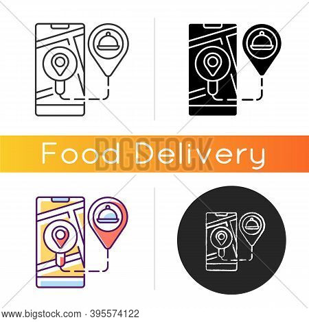 Real-time Order Tracking Icon. Realtime Visibility And Control. Map-based View. Tracking Meal From R